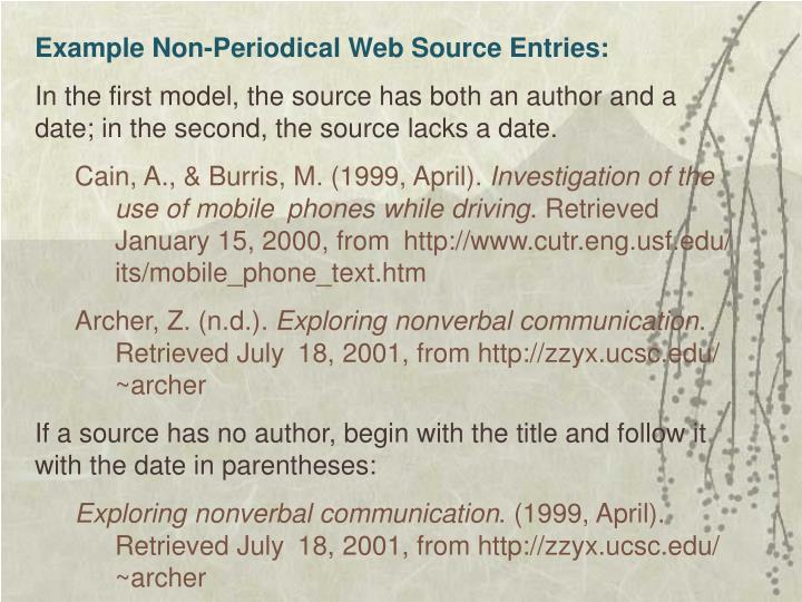 Example Non-Periodical Web Source Entries:
