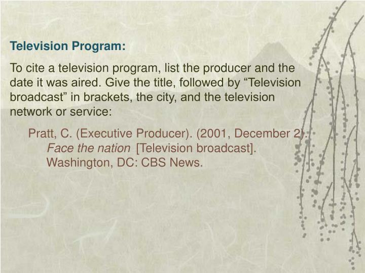 Television Program: