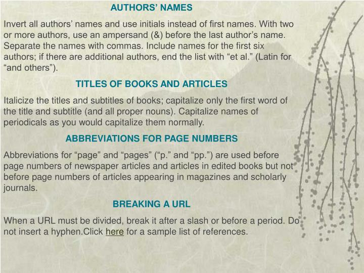 AUTHORS' NAMES