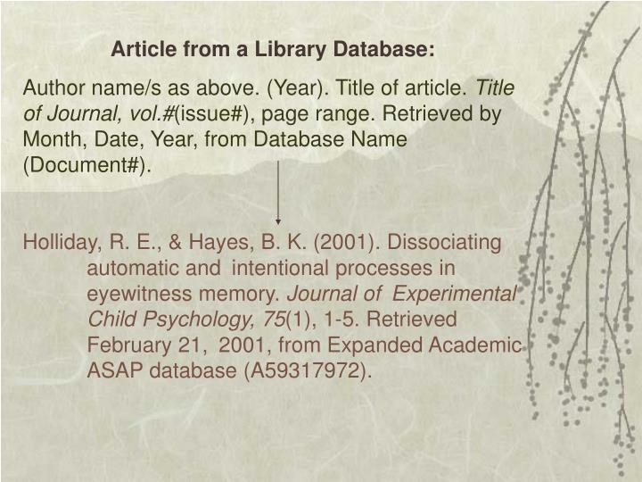 Article from a Library Database: