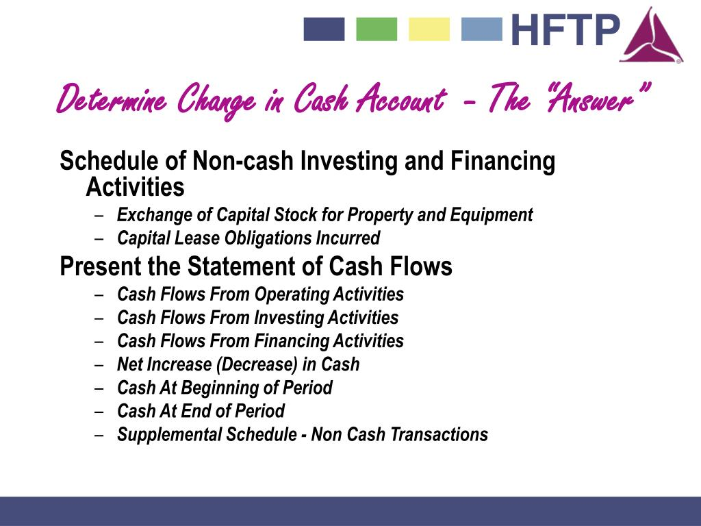 """Determine Change in Cash Account  - The """"Answer"""""""