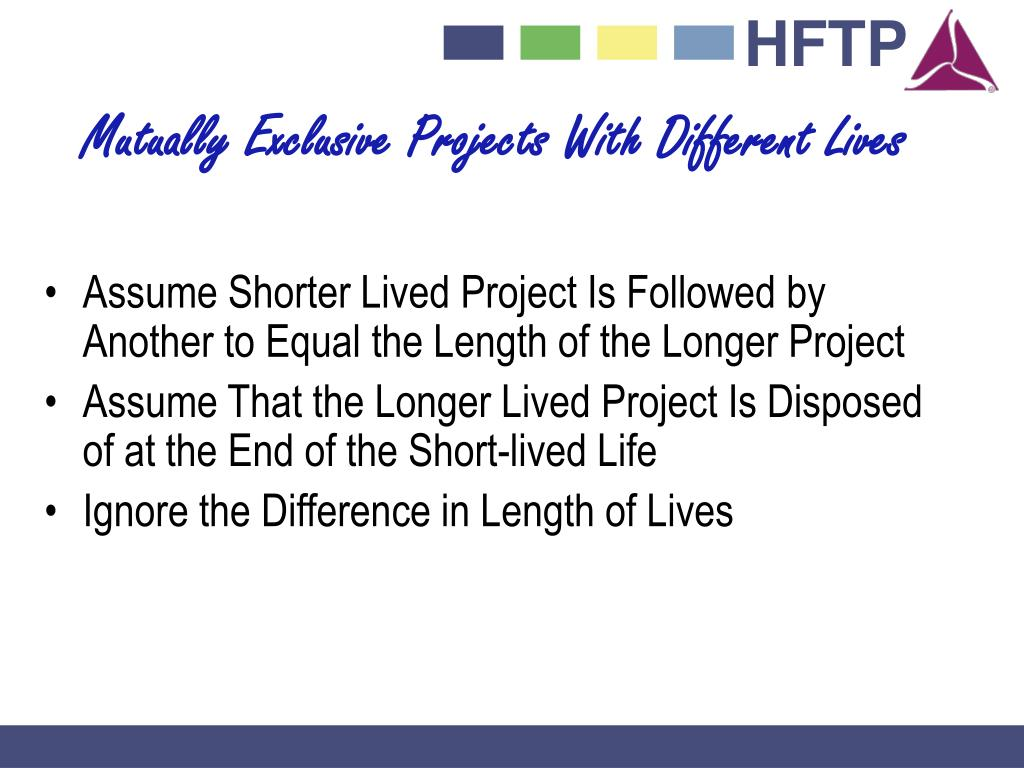Mutually Exclusive Projects With Different Lives