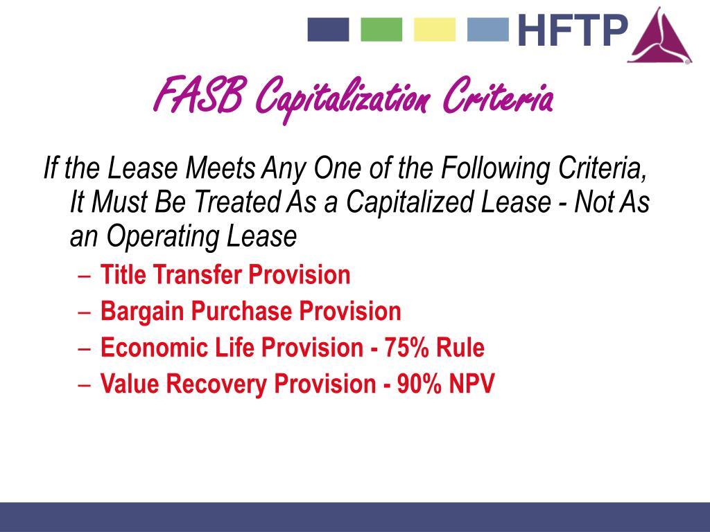 FASB Capitalization Criteria