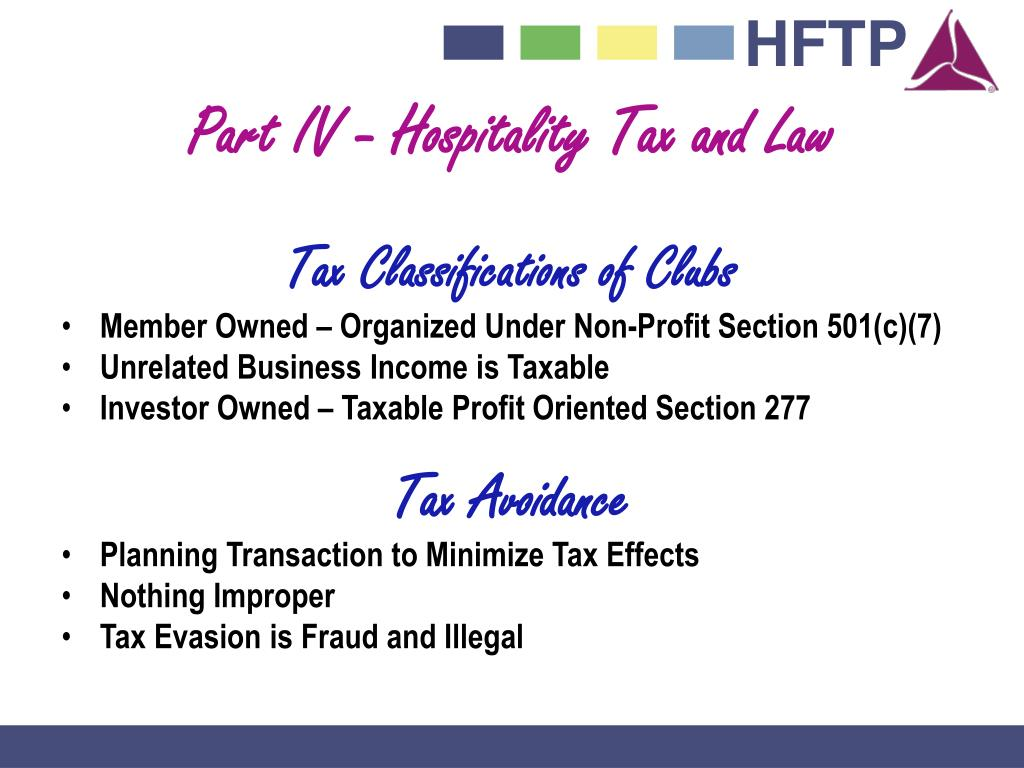 Part IV - Hospitality Tax and Law