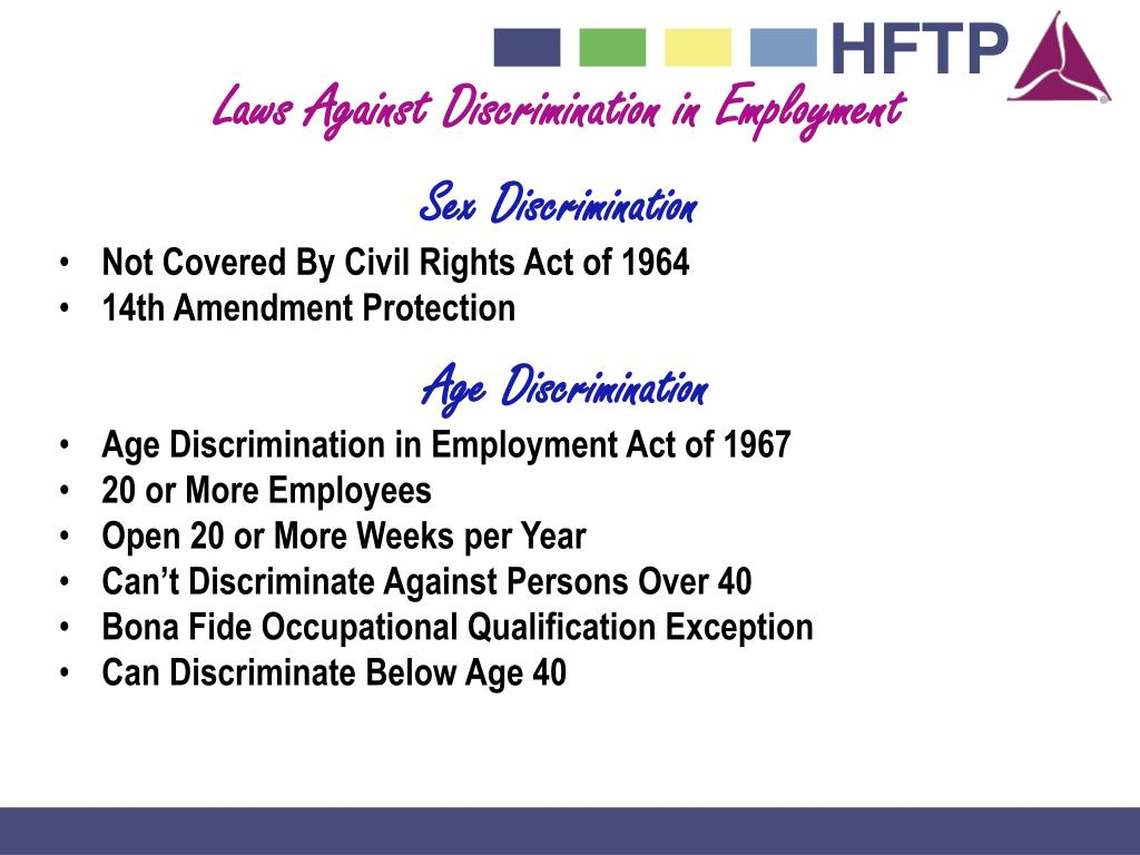 Laws Against Discrimination in Employment