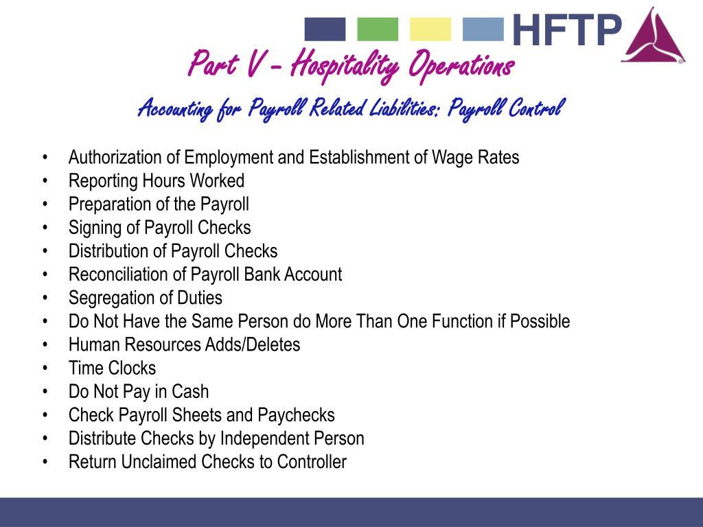 Part V - Hospitality Operations