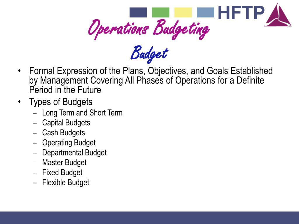Operations Budgeting