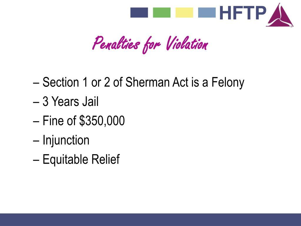 Penalties for Violation