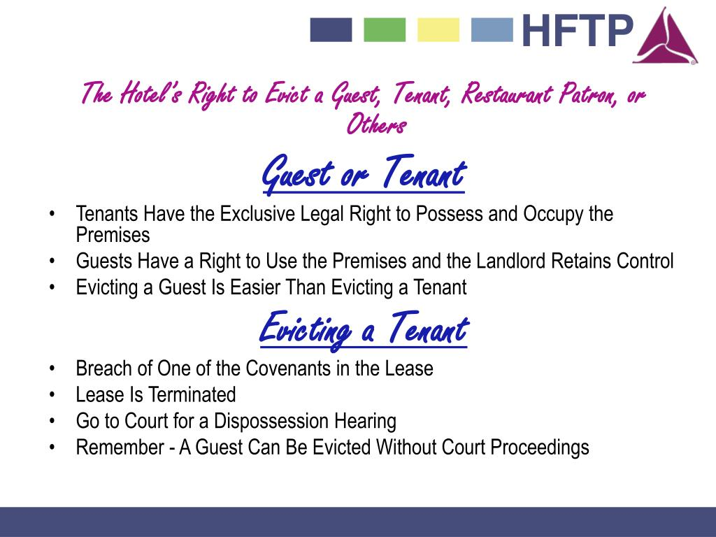 The Hotel's Right to Evict a Guest, Tenant, Restaurant Patron, or Others