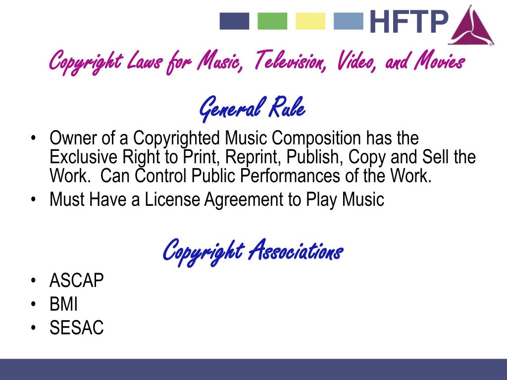 Copyright Laws for Music, Television, Video, and Movies