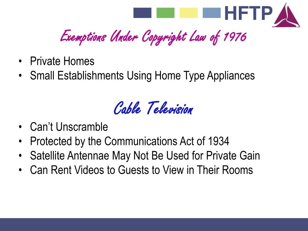 Exemptions Under Copyright Law of 1976