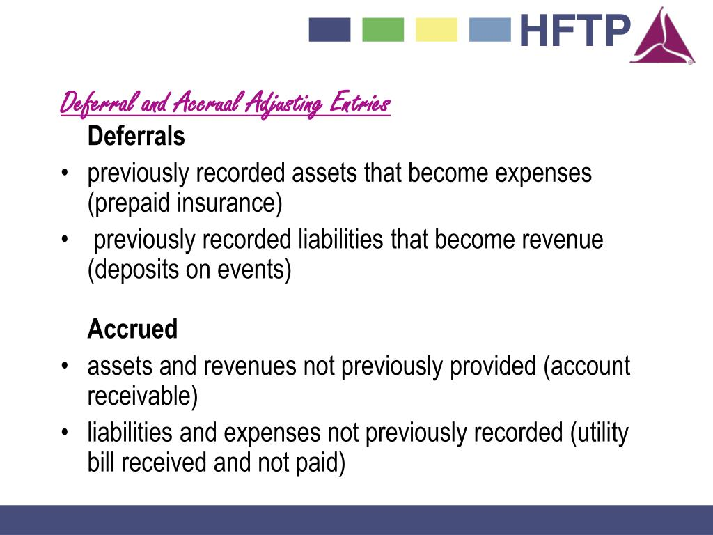 Deferral and Accrual Adjusting Entries