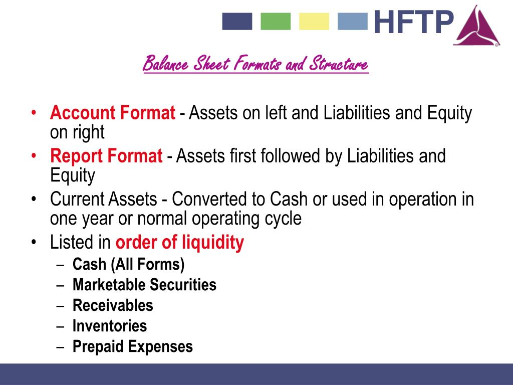 Balance Sheet Formats and Structure