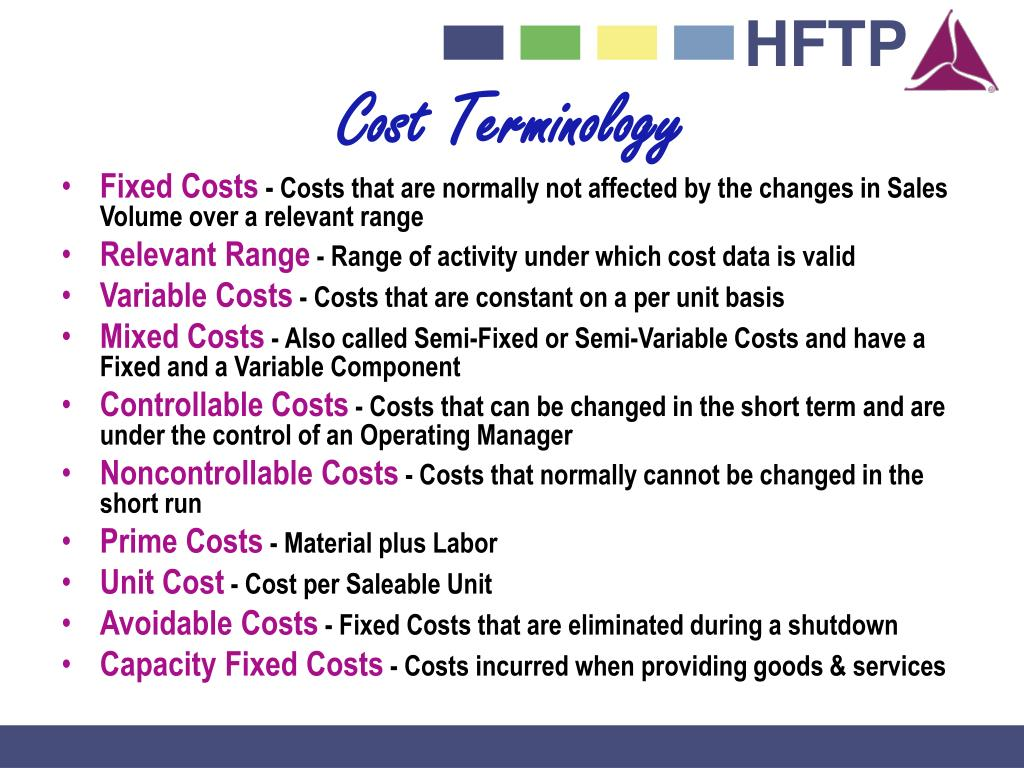 Cost Terminology