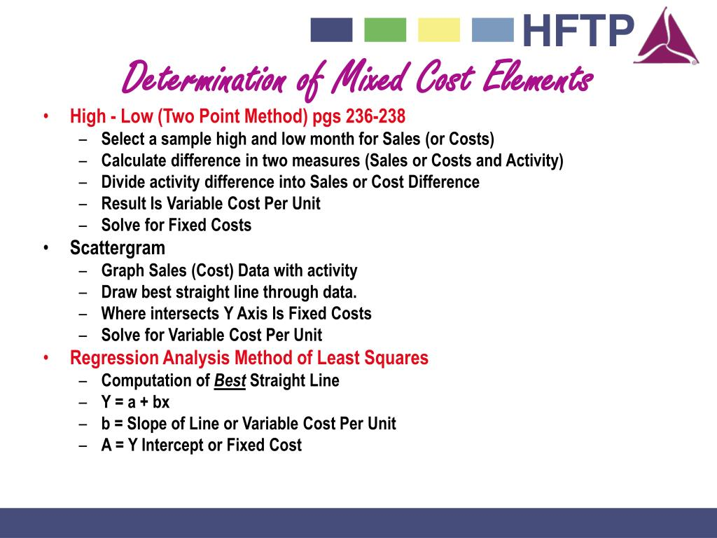 Determination of Mixed Cost Elements