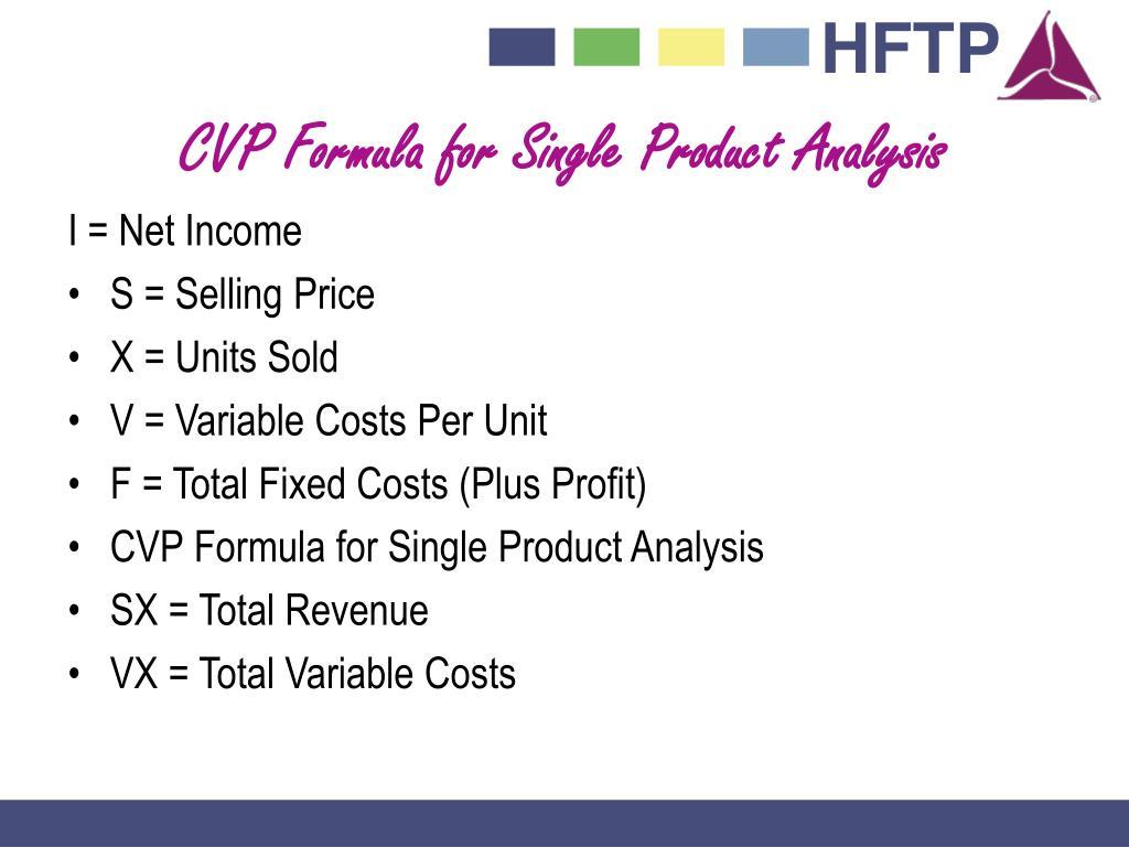 CVP Formula for Single Product Analysis
