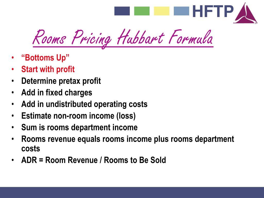 Rooms Pricing Hubbart Formula