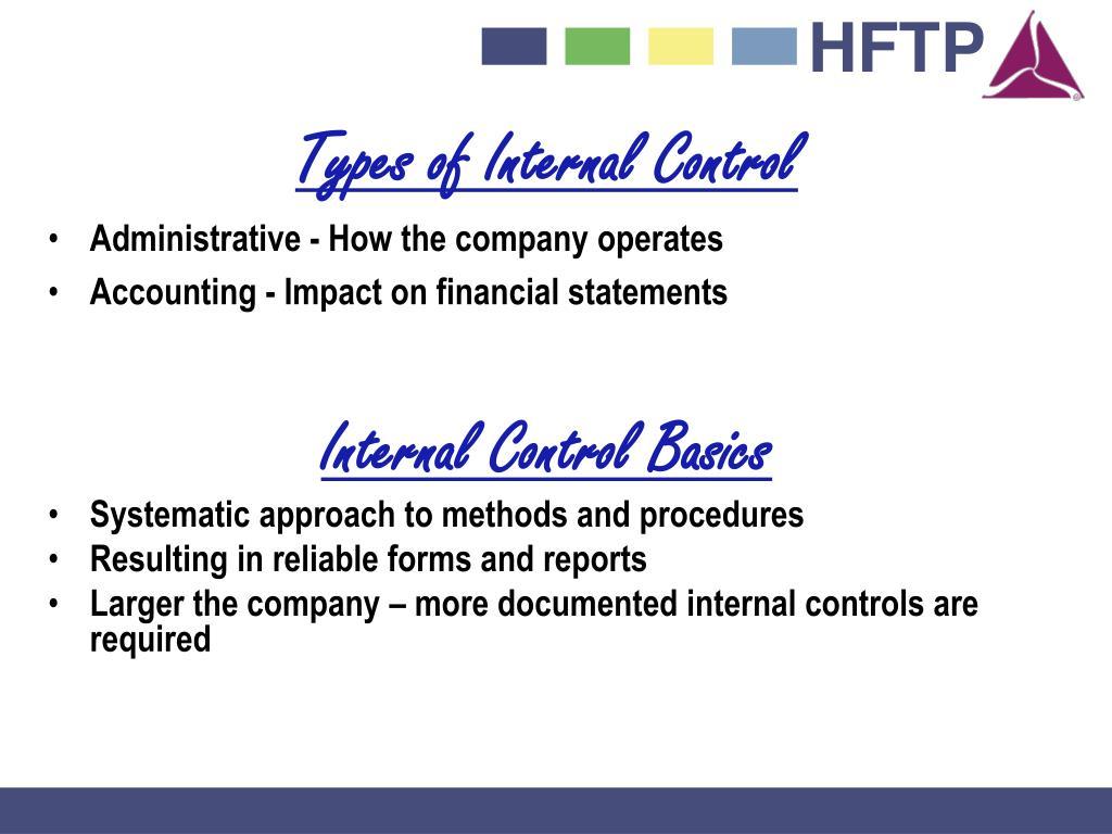 Types of Internal Control