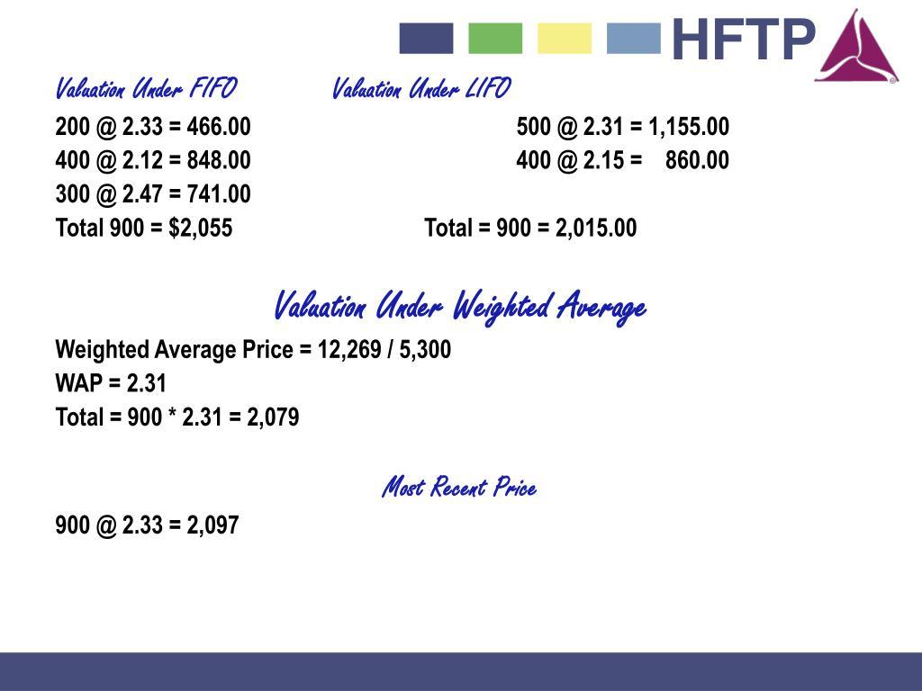 Valuation Under FIFOValuation Under LIFO