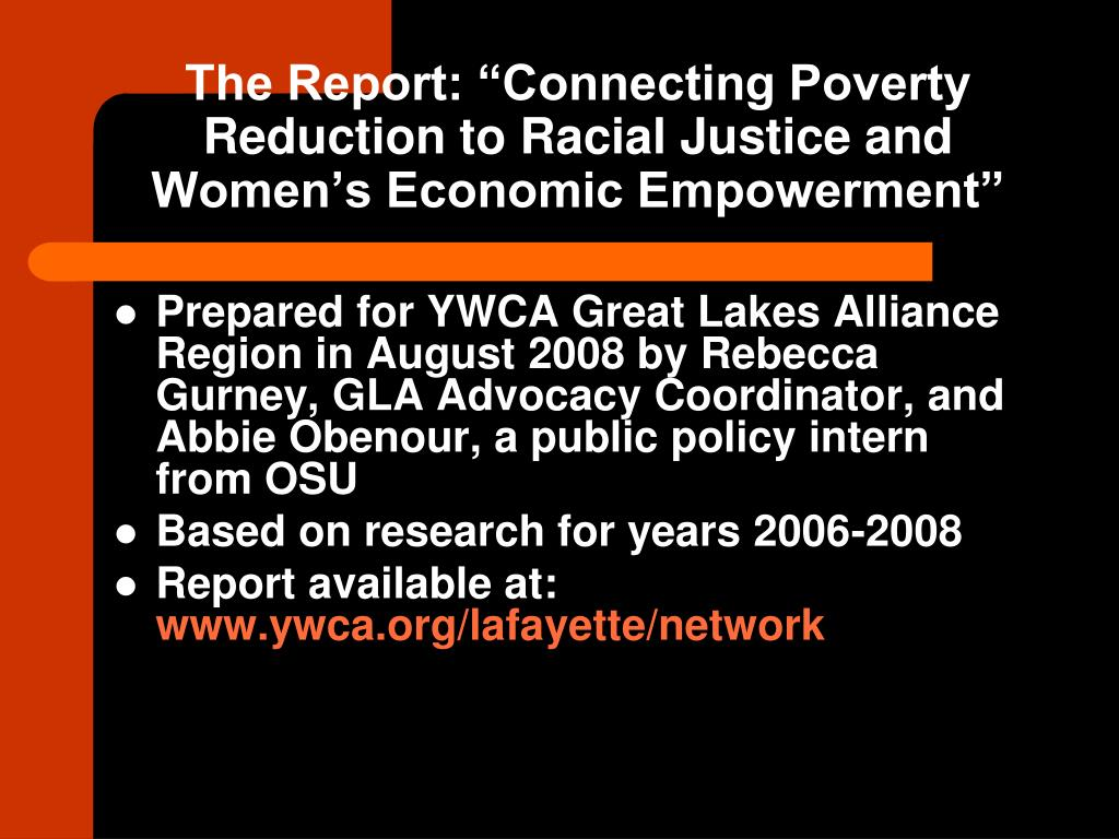 "The Report: ""Connecting Poverty Reduction to Racial Justice and Women's Economic Empowerment"""