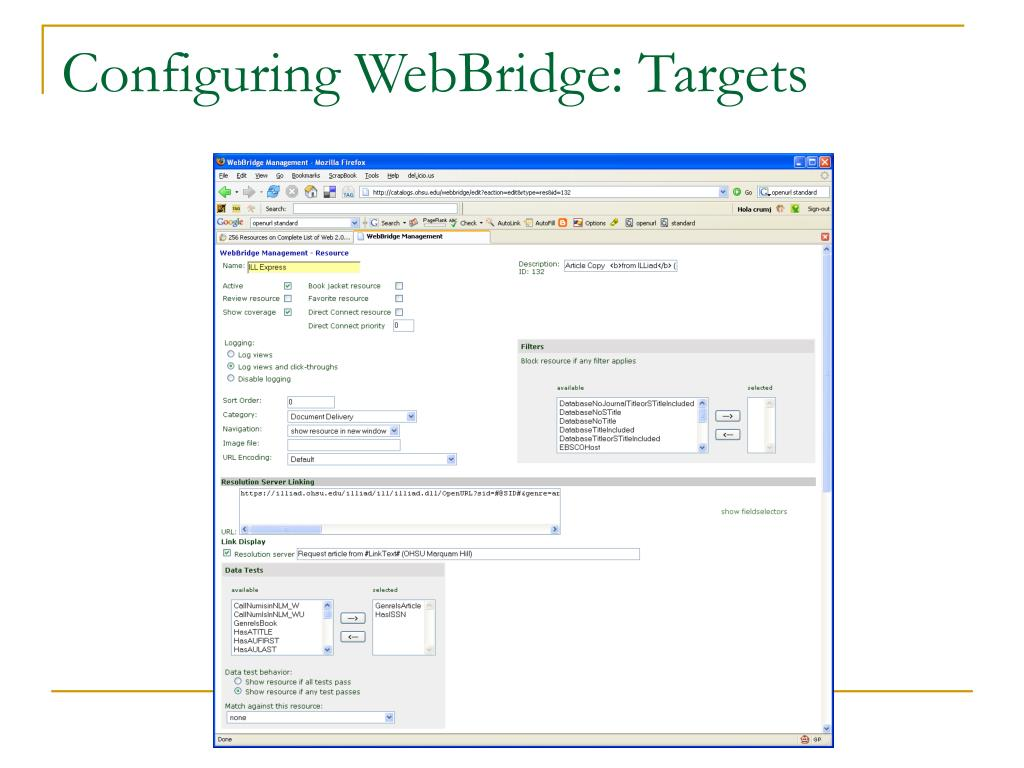 Configuring WebBridge: Targets