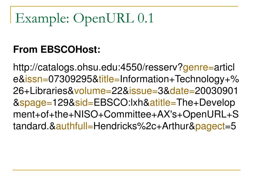 Example: OpenURL 0.1