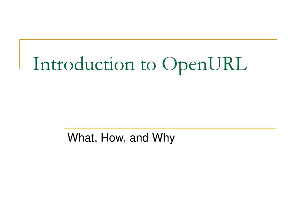 Introduction to OpenURL