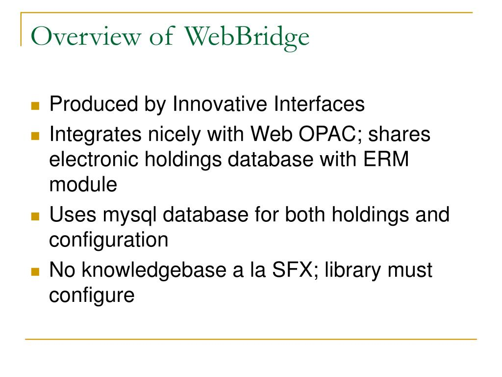 Overview of WebBridge