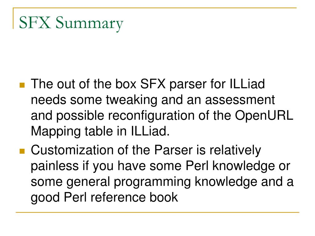 SFX Summary