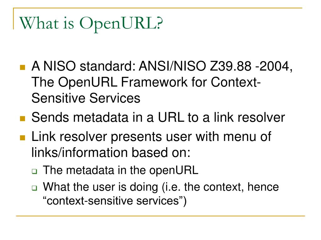 What is OpenURL?
