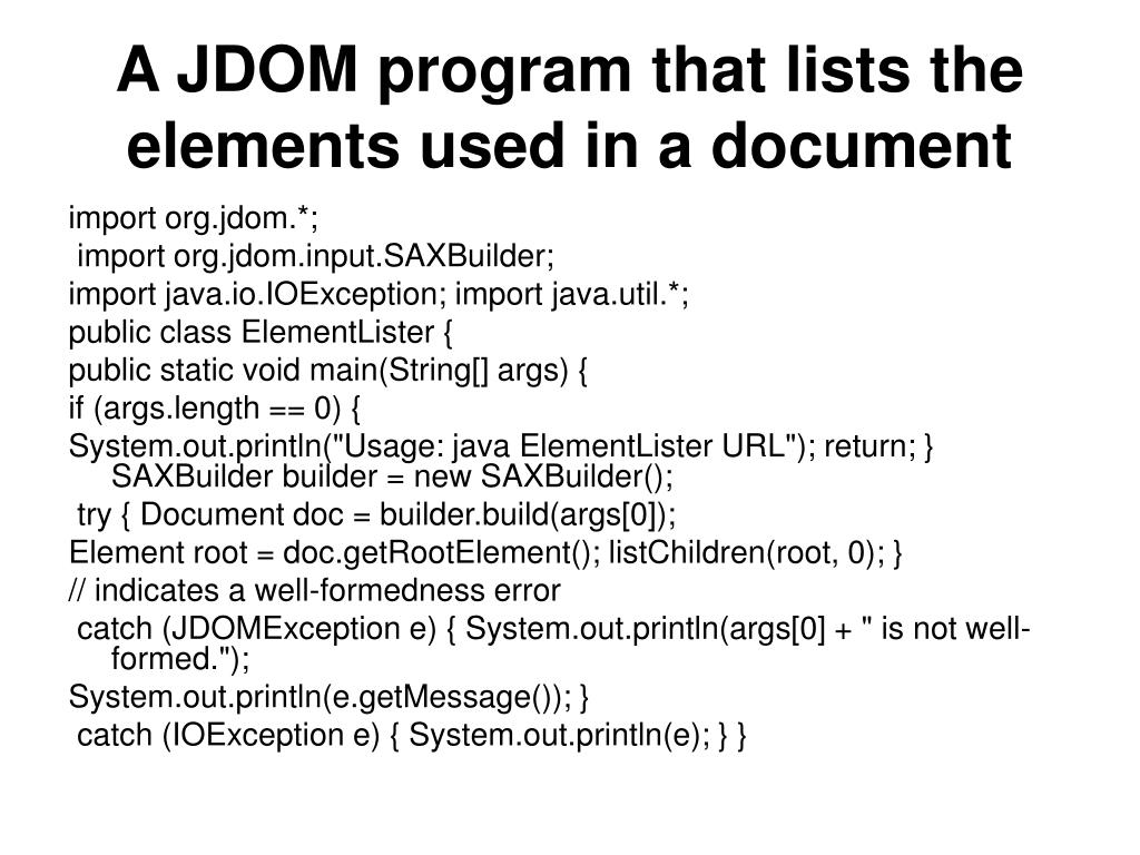 A JDOM program that lists the elements used in a document