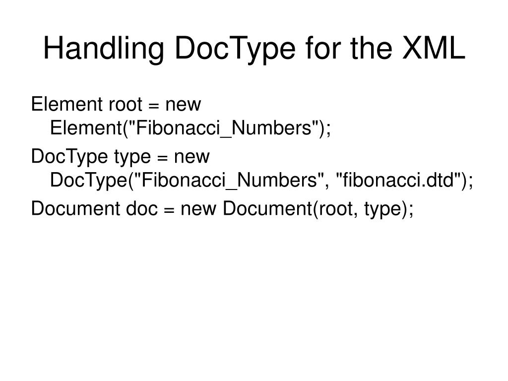 Handling DocType for the XML