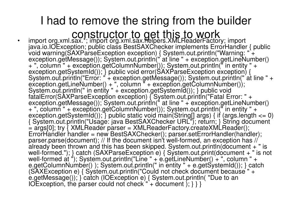 I had to remove the string from the builder constructor to get this to work