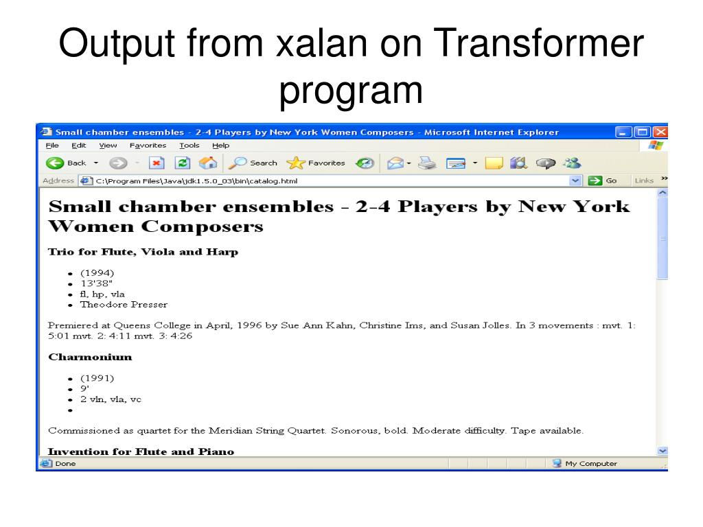 Output from xalan on Transformer program
