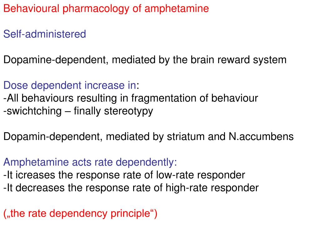 Behavioural pharmacology of amphetamine