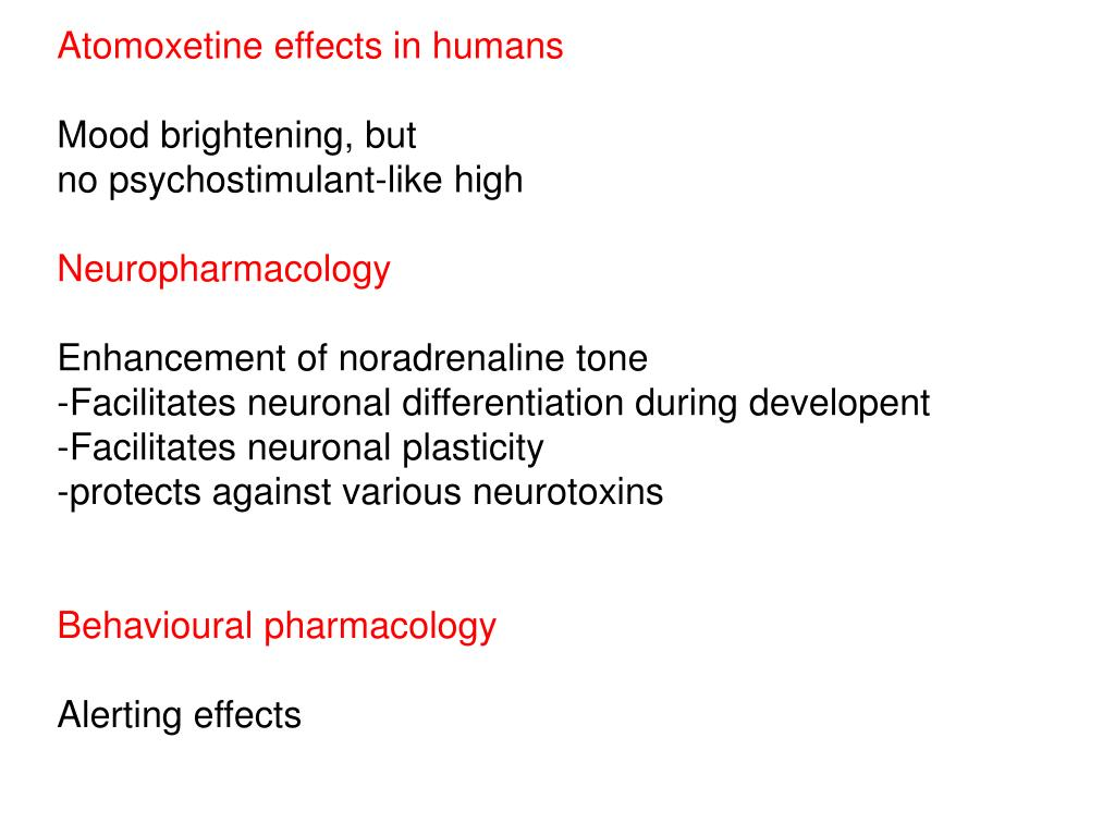 Atomoxetine effects in humans