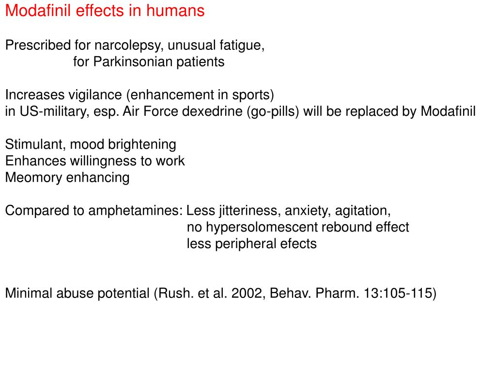 Modafinil effects in humans