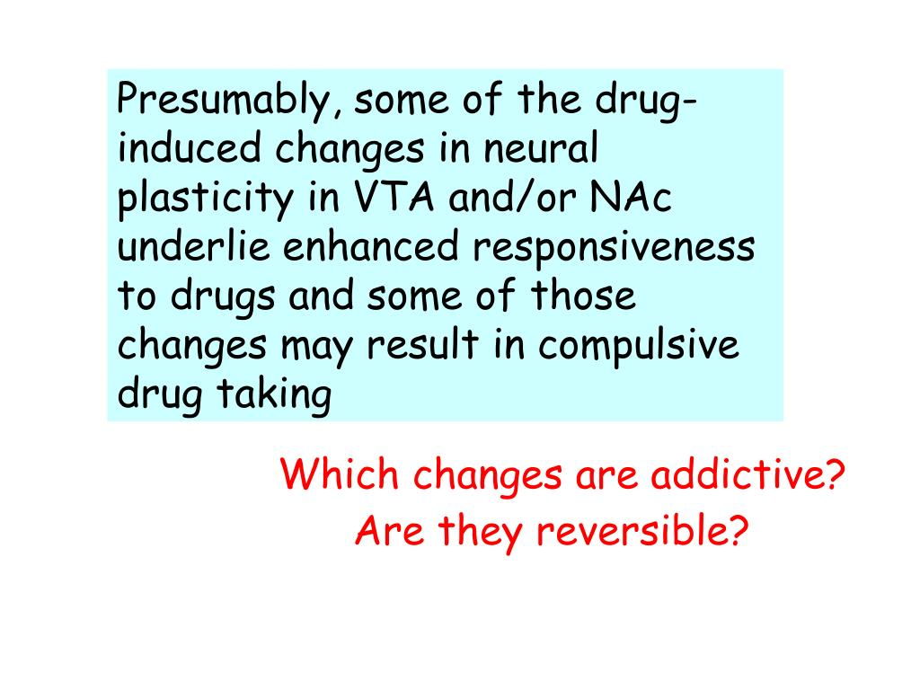 Presumably, some of the drug-induced changes in neural plasticity in VTA and/or NAc underlie enhanced responsiveness to drugs and some of those changes may result in compulsive drug taking