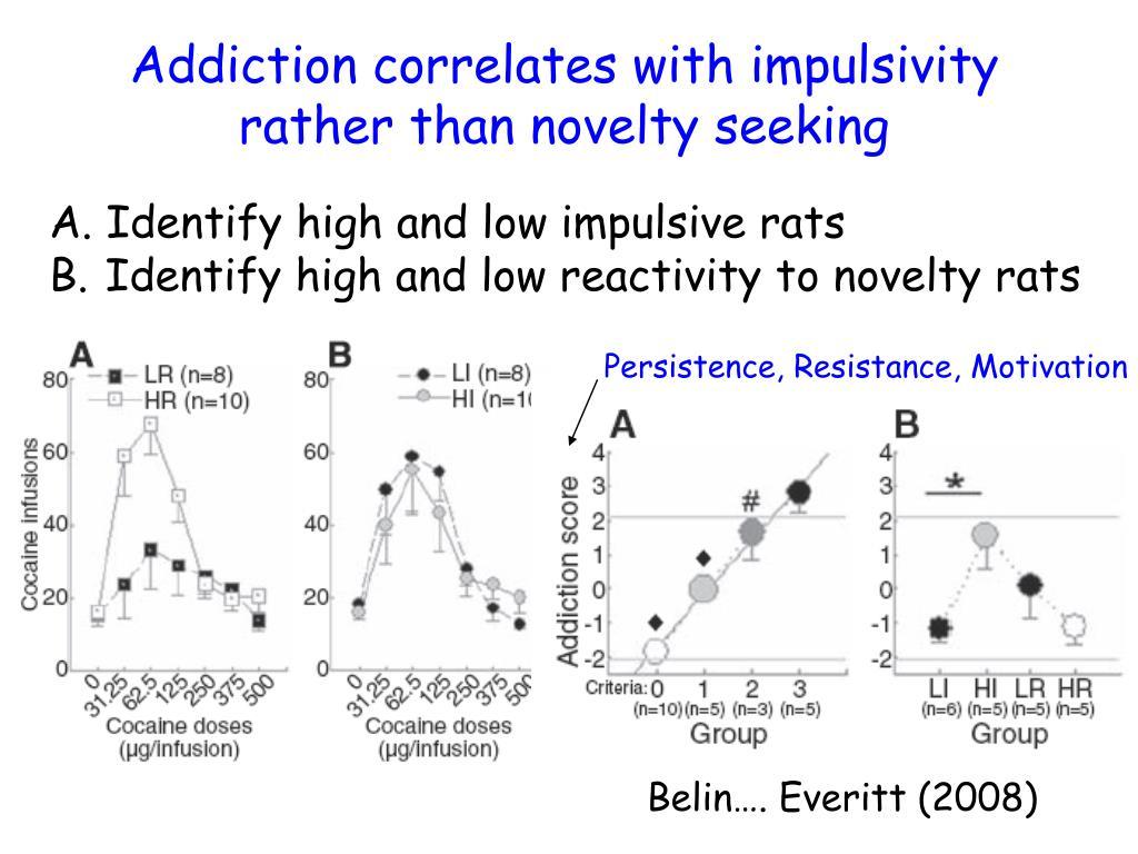 Addiction correlates with impulsivity rather than novelty seeking