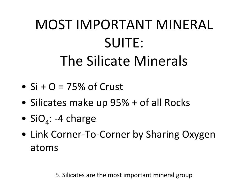 MOST IMPORTANT MINERAL SUITE: