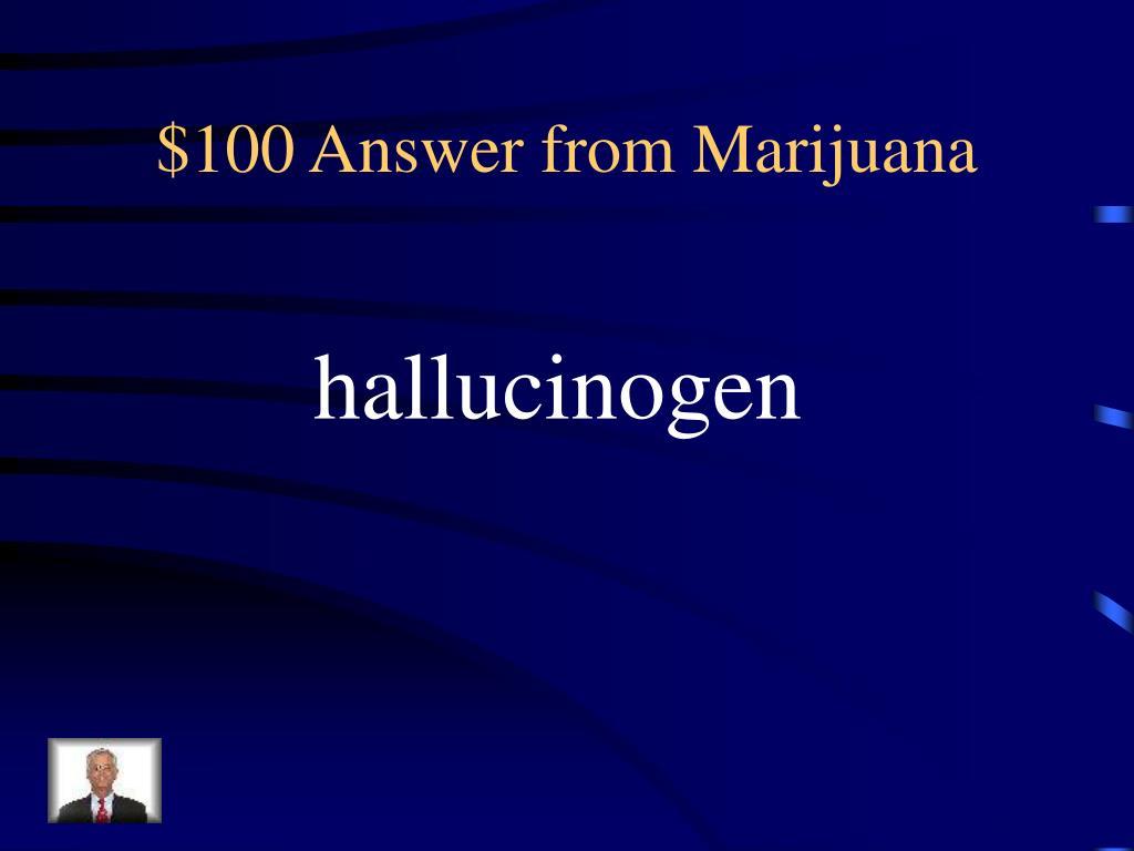 $100 Answer from Marijuana