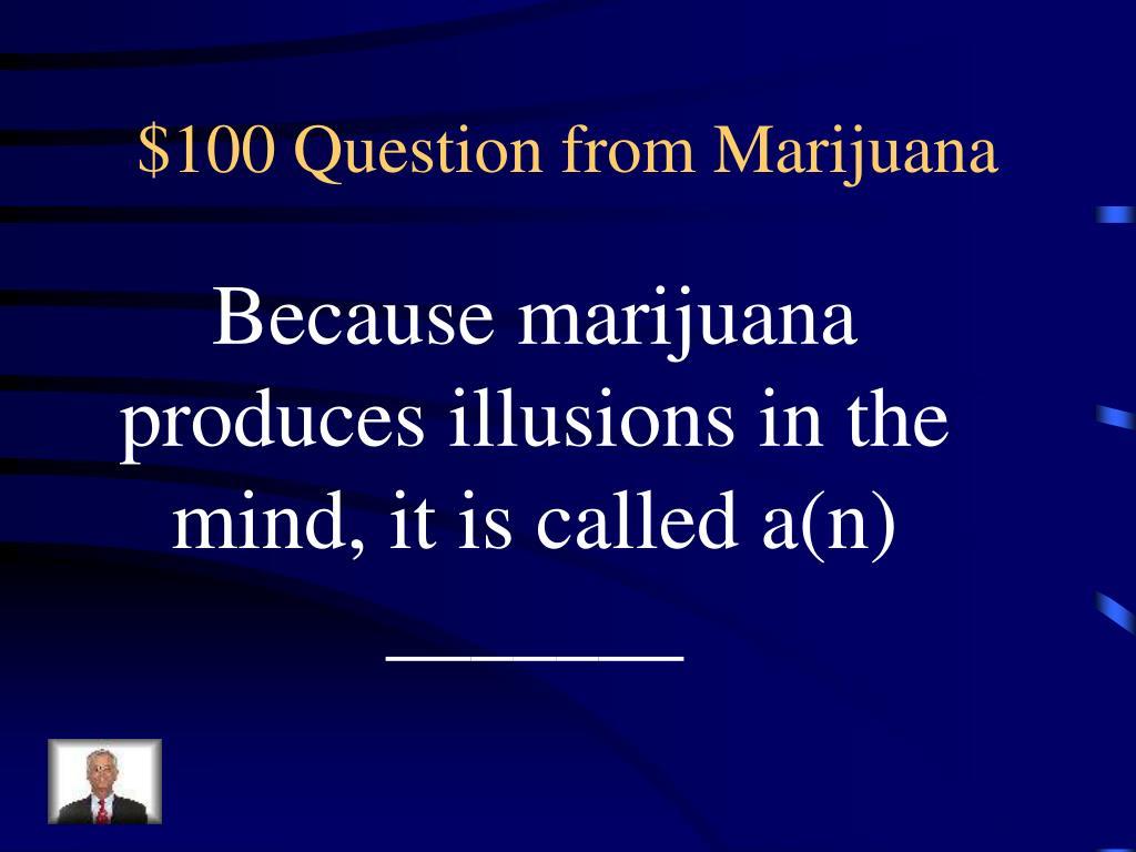 $100 Question from Marijuana