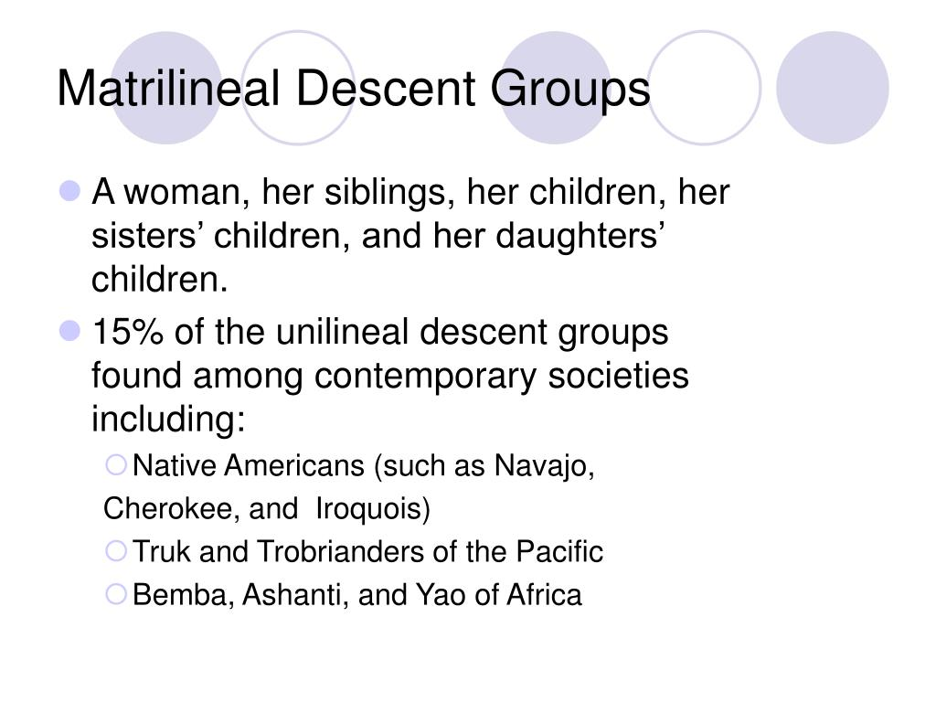 Matrilineal Descent Groups