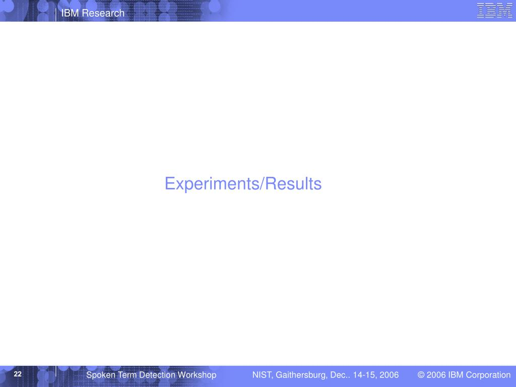 Experiments/Results