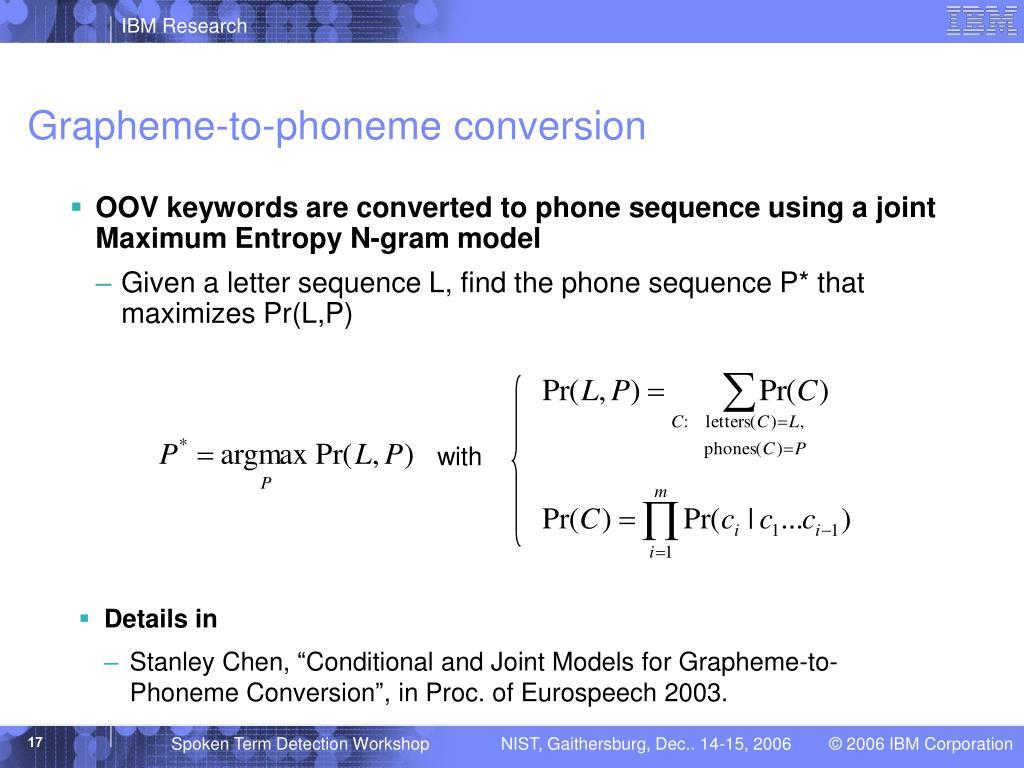 Grapheme-to-phoneme conversion