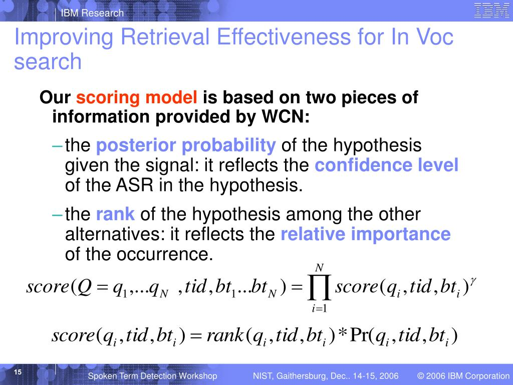 Improving Retrieval Effectiveness for In Voc search
