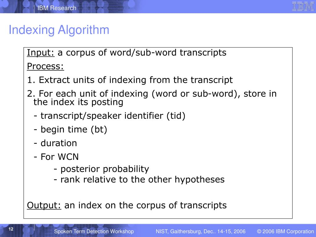 Indexing Algorithm