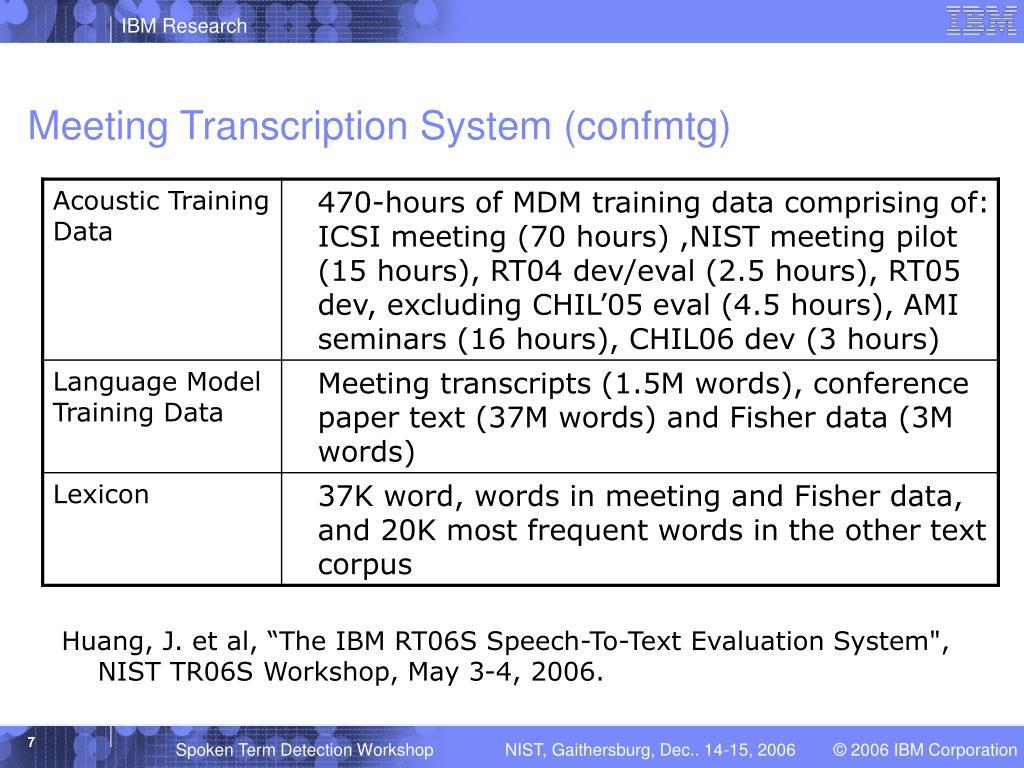 Meeting Transcription System (confmtg)