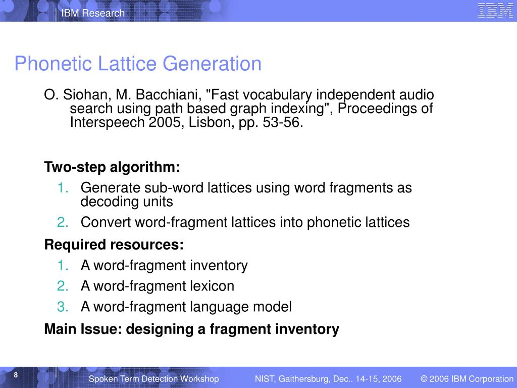 Phonetic Lattice Generation