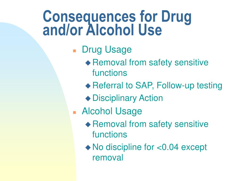 Consequences for Drug and/or Alcohol Use